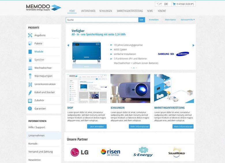 Jetzt online - Der Memodo Photovoltaik-Shop