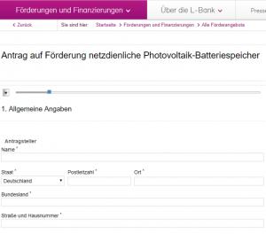 Batterie-Speicherförderung Baden-Würrtemberg Förder-Antrag online ausfüllen
