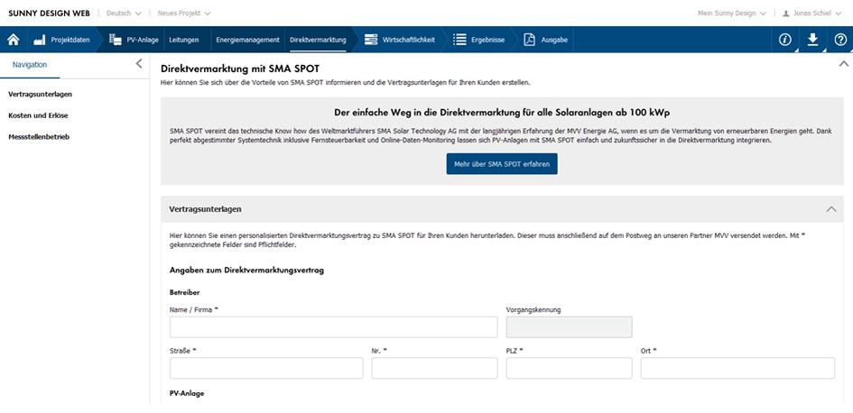 SMA SPOT Direktvermarktung Vertragsunterlagen speichern und drucken