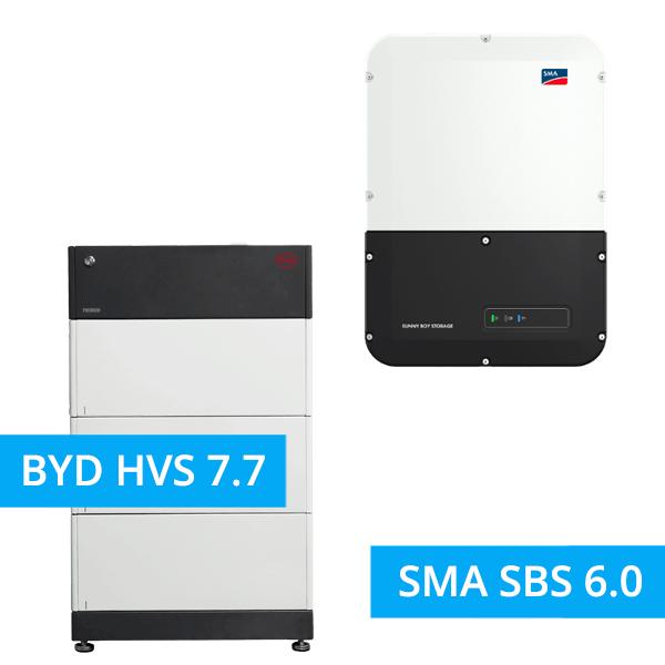 BYD BATTERY-BOX PREMIUM HVS 7.7 mit SMA SBS 6.0