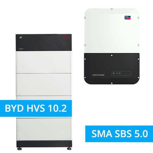 BYD BATTERY-BOX PREMIUM HVS 10.2 mit SMA SBS 5.0