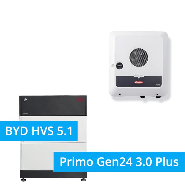 BYD Battery-Box Premium HVS 5.1 Hochvolt mit Fronius Primo Gen24 3.0 Plus