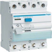 Hager residual current operated circuit breaker 40A, 4-pole, 30mA, type A