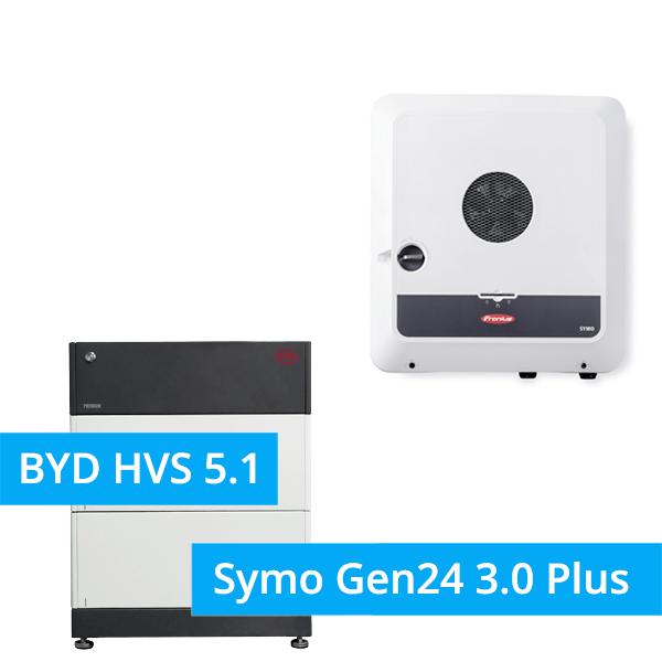 BYD Battery-Box Premium HVS 5.1 Hochvolt mit Fronius Symo Gen24 3.0 Plus