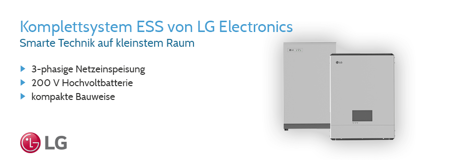 Banner zu den All in One Speichersystemen von LG Electronics.